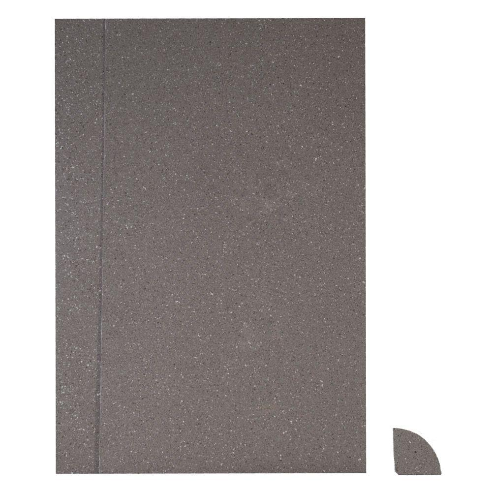 ForzaQuartz Seamless By Nature 48 in. x 48 in. x 84 in. 3-piece Glue-Up Shower Surround in Silver Storm