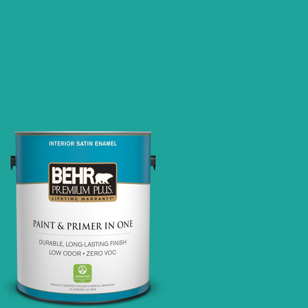 BEHR Premium Plus 1-gal. Home Decorators Collection Tropical Sea Satin Enamel Interior Paint