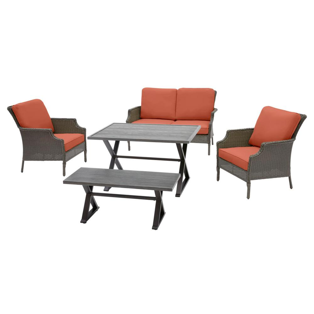 Hampton Bay Grayson Ash Gray 5-Piece Wicker Outdoor Patio Dining Set with CushionGuard Quarry Red Cushions was $699.0 now $559.2 (20.0% off)