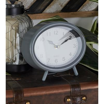 Vintage Black, White and Gray Oval Table Clocks (Set of 3)