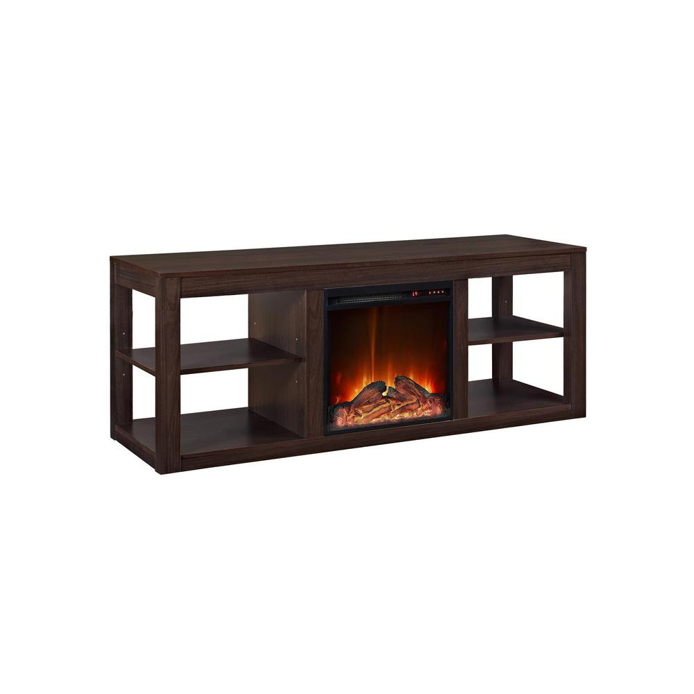 ameriwood nelson 65 in espresso tv stand console with fireplace hd39896 the home depot. Black Bedroom Furniture Sets. Home Design Ideas