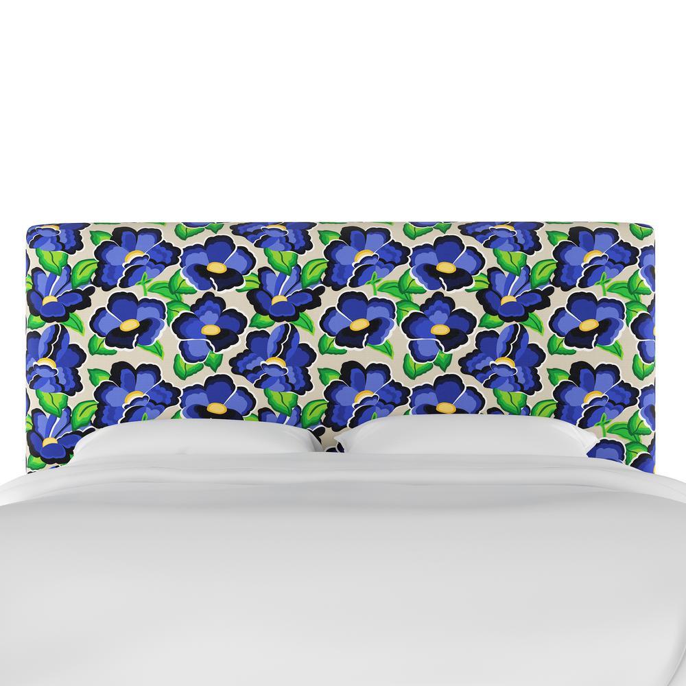 Carla Floral Blue King Upholstered Headboard