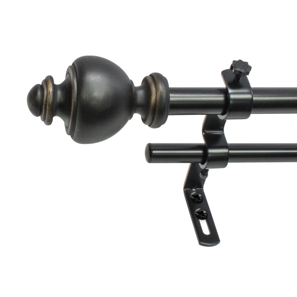 48 in. - 86 in. Core Urn Double Telescoping 5/8 in. Drapery Rod Set in Black Oil