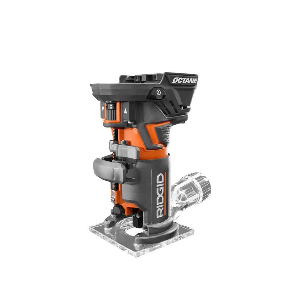 RIDGID 18-Volt OCTANE Cordless Brushless Compact Fixed Base Router with 1/4  in  Bit, Round and Square Bases, and Collet Wrench
