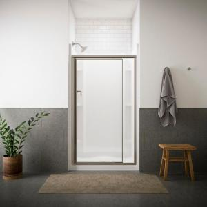 Sterling Vista Pivot II 42 inch x 65-1/2 inch Framed Pivot Shower Door in Nickel with Handle by STERLING