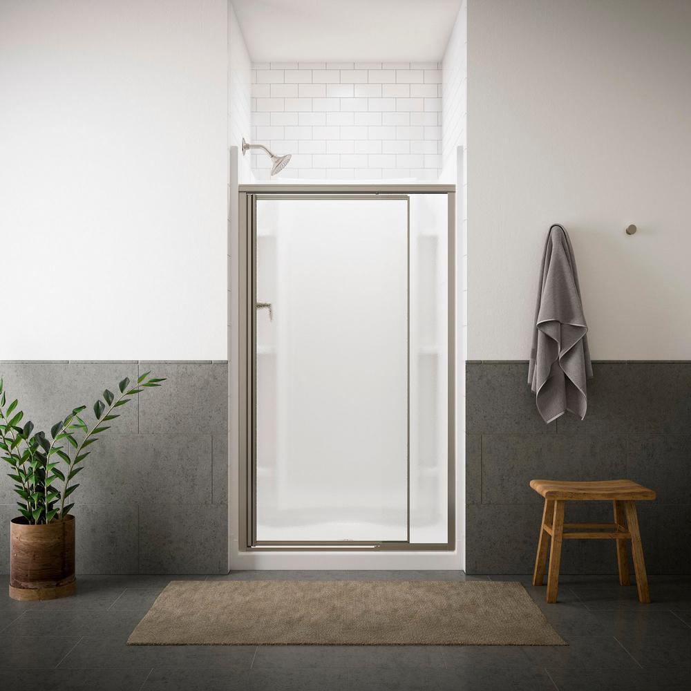 Vista Pivot II 42 in. x 65-1/2 in. Framed Pivot Shower Door in Nickel with Handle