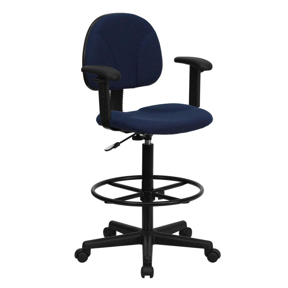 Flash Furniture Navy Blue Patterned Fabric Ergonomic Drafting Chair With  Height Adjustable Arms