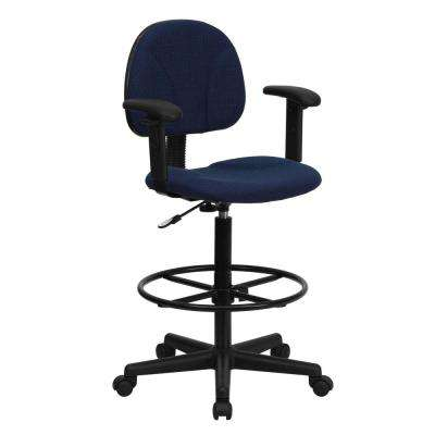 Navy Blue Patterned Fabric Ergonomic Drafting Chair with Height Adjustable Arms