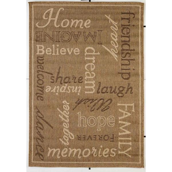 FW Collection Home Family Gold 8 ft. x 10 ft. Polypropylene Indoor/Outdoor Area Rug