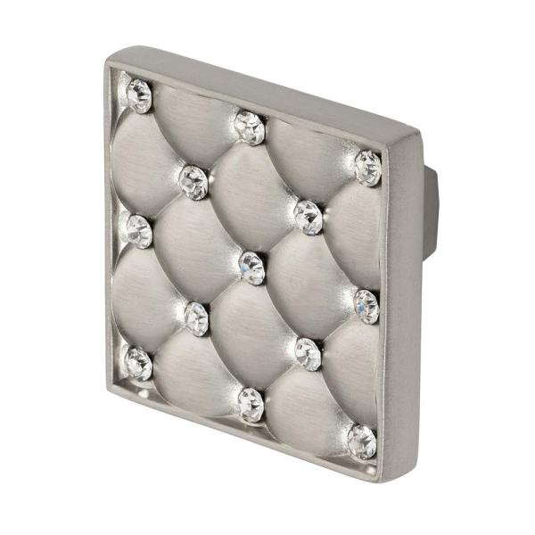 Coco 1-5/32 in. Satin Nickel with Clear Crystal Cabinet or Drawer Knob