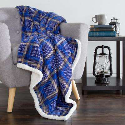 Blue and Yellow Plaid Fleece Sherpa Throw