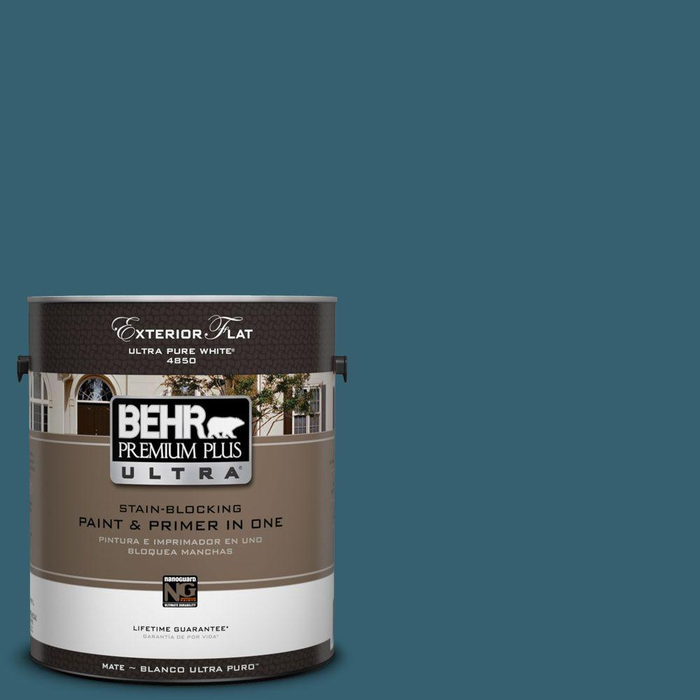 BEHR Premium Plus Ultra 1-Gal. #UL230-21 Bermudan Blue Flat Exterior Paint