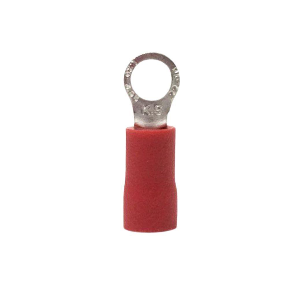 8 AWG 1/4 in. Tab Ring Terminal, Vinyl Red (5-Pack)
