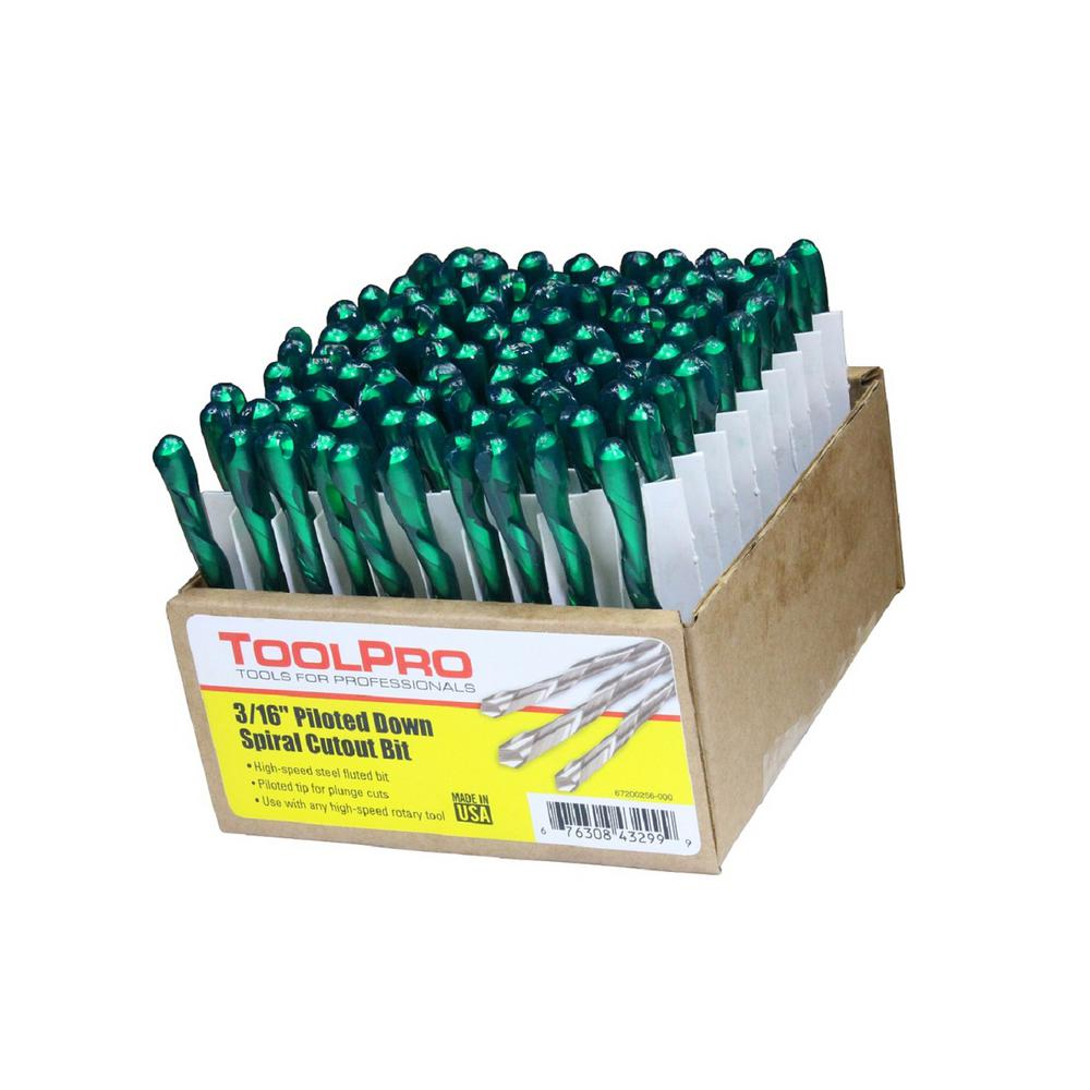 Tool Pros 3/16 in. Piloted Down Spiral Cutout Bits (100-P...