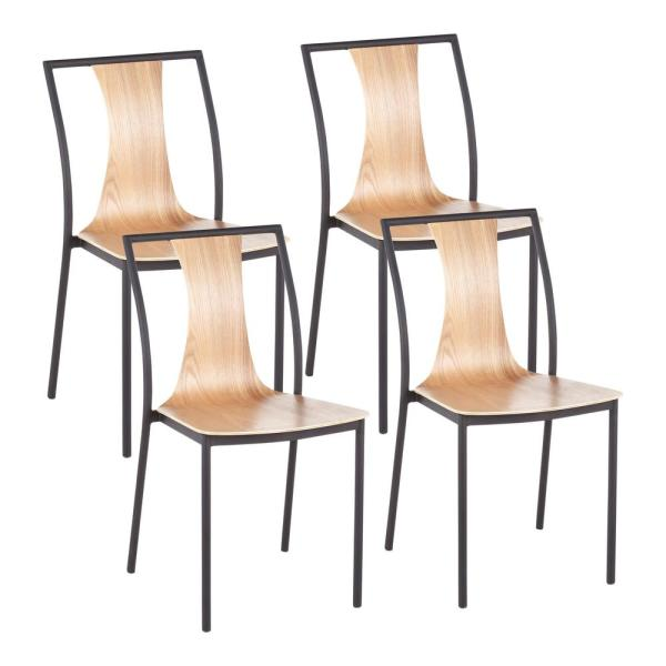 Osaka Natural Wood and Black Metal Chairs (Set of 4)