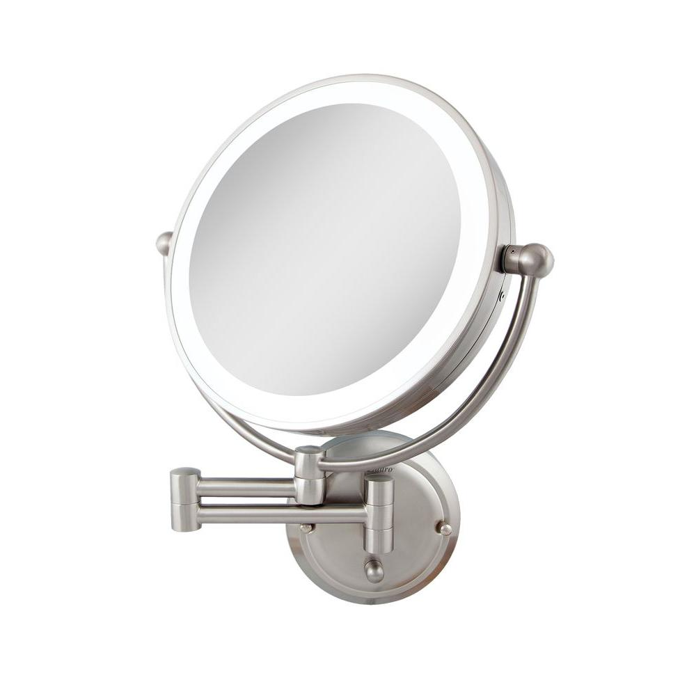 Surround Light 18 in. H x 14 in. W Wall Mount Mirror in Satin Nickel ...