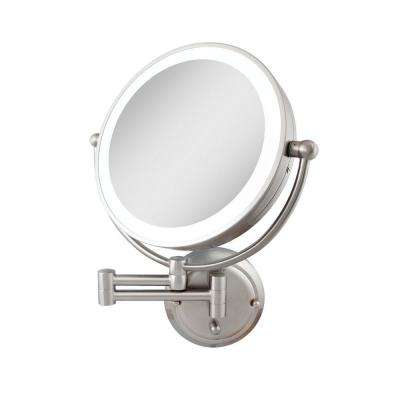 18 in. H x 14 in. W Wall Mount Makeup Mirror in Satin Nickel