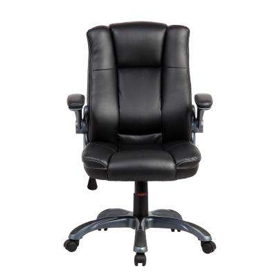 Black Medium Back Executive Office Chair with Flip-up Arms