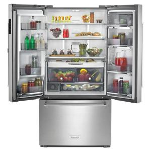 Pleasing Kitchenaid 23 8 Cu Ft French Door Refrigerator In Stainless Steel Counter Depth Beutiful Home Inspiration Ommitmahrainfo