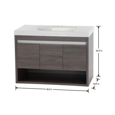 Wilby 36.5 in. W x 18.9 in. D Vanity in Dark Oak with Cultured Marble Vanity Top in White with White Sink
