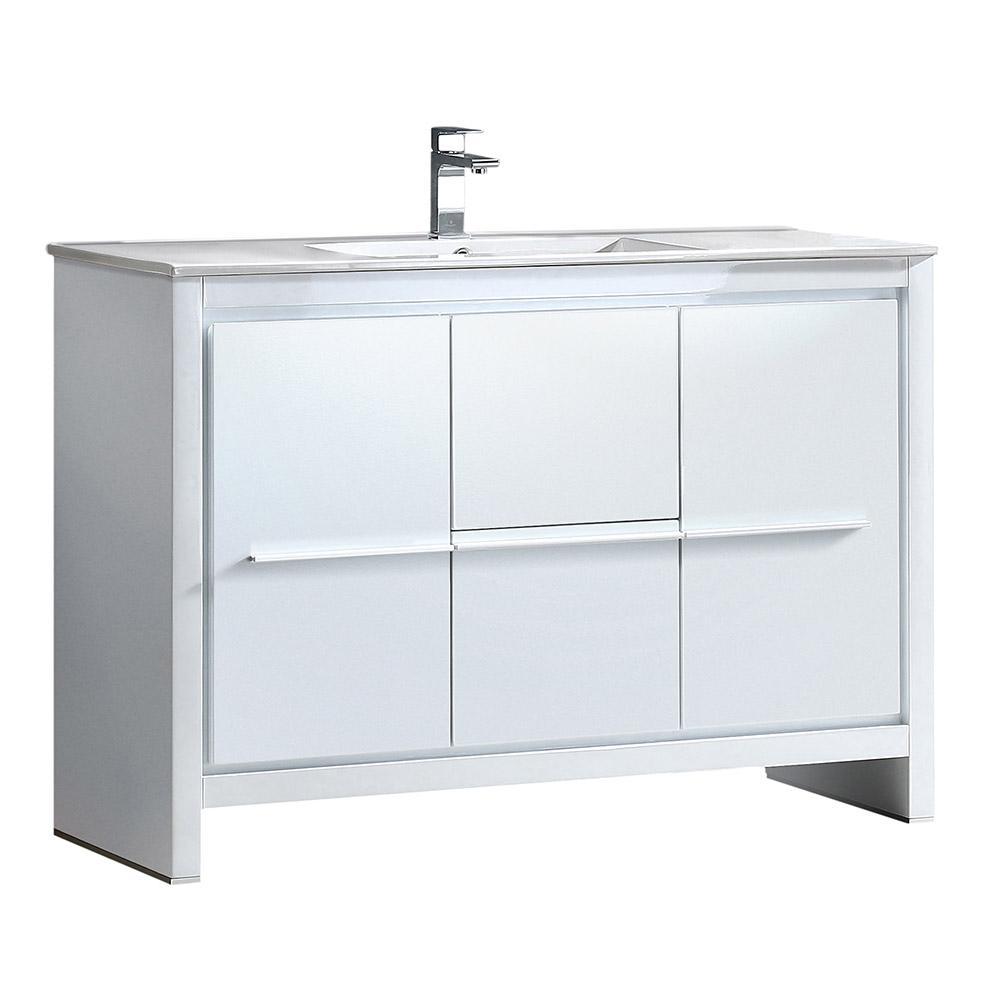 Allier 48 in. Bath Vanity in White with Ceramic Vanity Top in White with White Basin