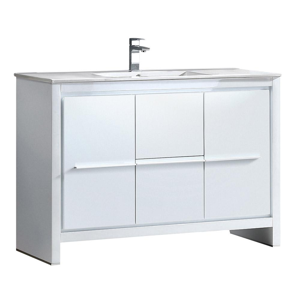 Allier 48 in. Bath Vanity in White with Ceramic Vanity Top