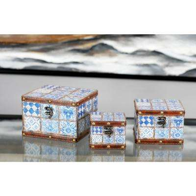 Square Pine Wood and Faux Leather Lattice-Patterned Boxes with Lid (Set of 3)