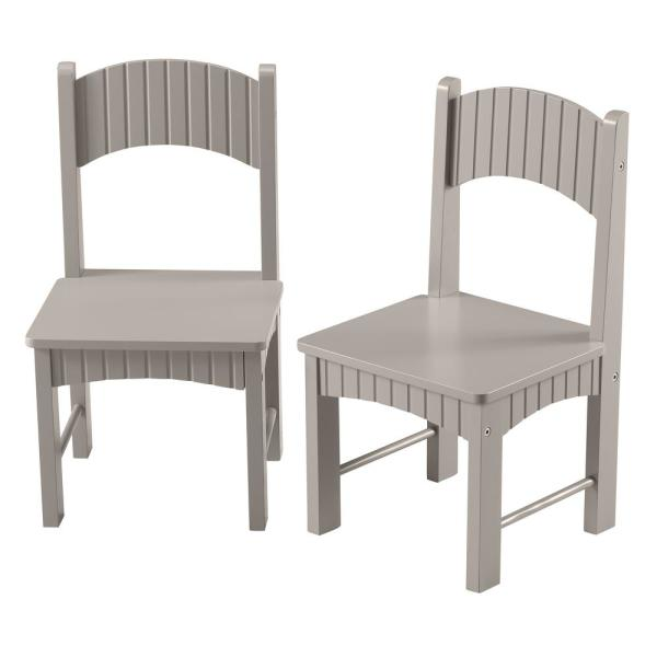 Linon Home Decor Lena Gray Wooden Kids Chairs Set Of 2