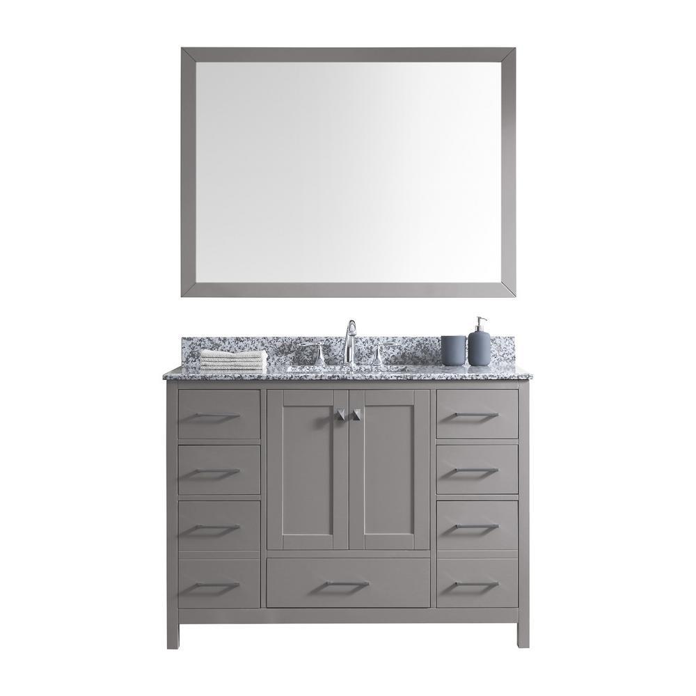 Virtu Usa Caroline Madison 48 In Vanity Grey With Granite Top Arctic