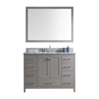 Caroline Madison 48 in. Vanity in Grey with Granite Vanity Top in Arctic White with White Square Basin and Mirror