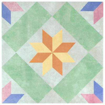 New Star Green Encaustic 9-3/4 in. x 9-3/4 in. Porcelain Floor and Wall Tile (10.76 sq. ft. / case)