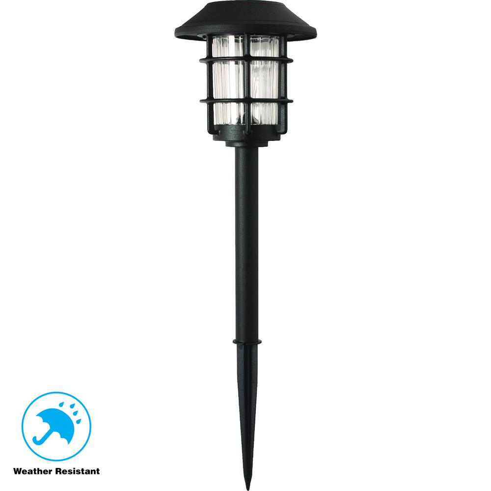Solar Black Outdoor Integrated LED 3000K 10-Lumens Metal and Glass Landscape
