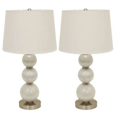 Tri-Tiered Glass 24 in. White Table Lamps with Shade (Set of 2)