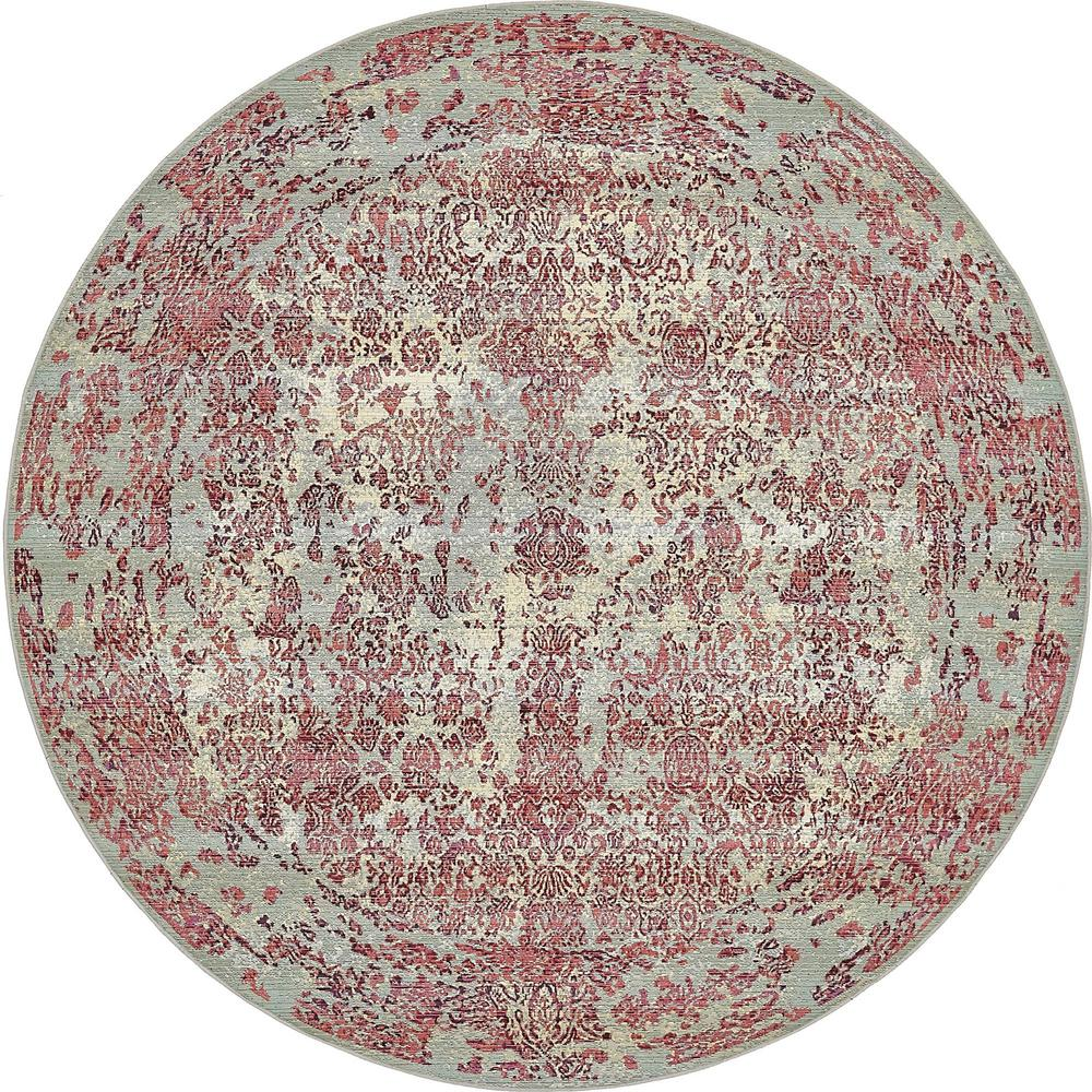 Outdoor Botanical Light Blue 8' x 8' Round Rug
