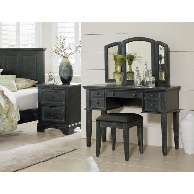 Farmhouse Basics Rustic Black Queen Bedroom Set with 2 Nightstands, 1 Chest, and 1 Vanity and Bench (8-Pieces)
