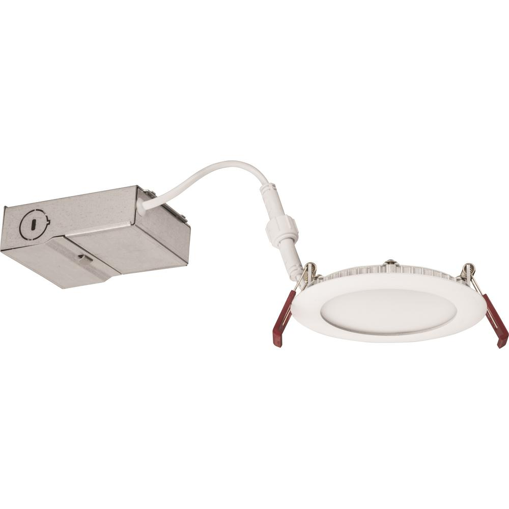 Lithonia Lighting Wf4 Ultra Thin Wafer 4 In White Integrated Led Dimmable Recessed Kit