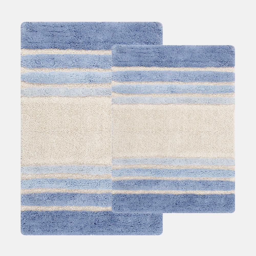 20 in. x 32 in. and 23 in. x 39 in. 2-Piece Tuxedo Stripe Bath Rug Set in Blue