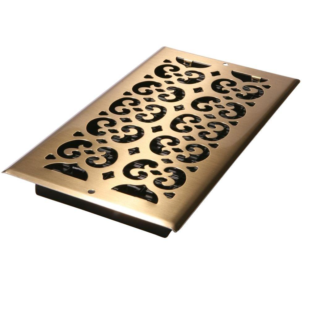Decor Grates 6 in. x 12 in. Antique Brass-Plated Steel Scroll Wall ...
