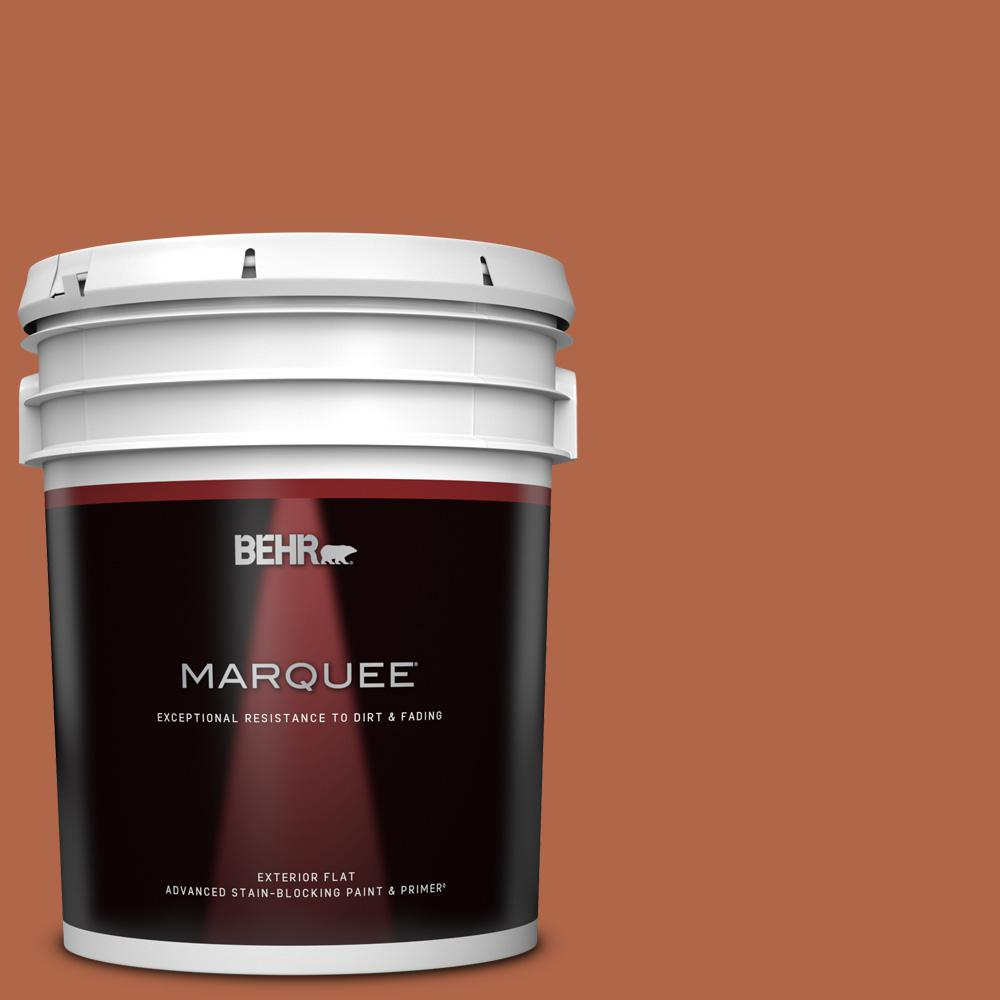 Behr Marquee 5 Gal M200 7 Rusty Gate Flat Exterior Paint Primer 445305 The Home Depot