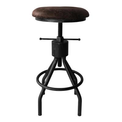 Today's Mentality Siena Industrial 24-30 in. Silver Brushed Gray Adjustable Backless Barstool with Brown Fabric Seat