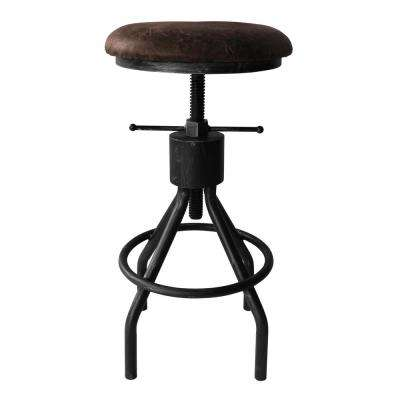 Siena Industrial 24-30 in. Silver Brushed Gray Adjustable Backless Barstool with Brown Fabric Seat
