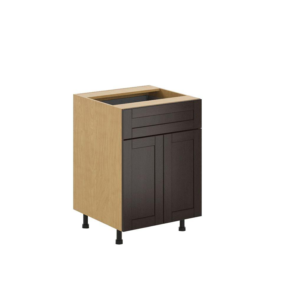 Fabritec Ready to Assemble 24x34.5x24.5 in. Barcelona Base Cabinet in Maple Melamine and Door in Dark Brown