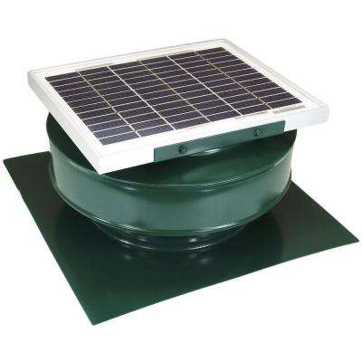 365 CFM Green Powder Coated 5-Watt Solar Powered Roof Mounted Exhaust Attic Fan