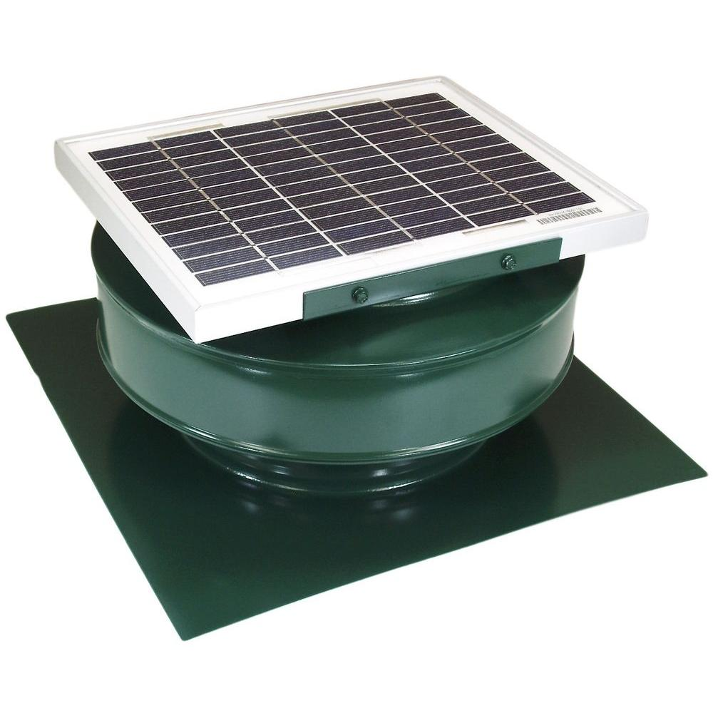 Active Ventilation 365 CFM Green Powder Coated 5 Watt Solar Powered Roof Mounted Exhaust Attic Fan