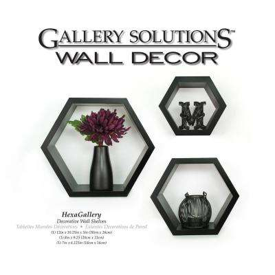 Gallery 9.38 in. W x 4.38 in. D Black Wall Cubes Decorative Shelf