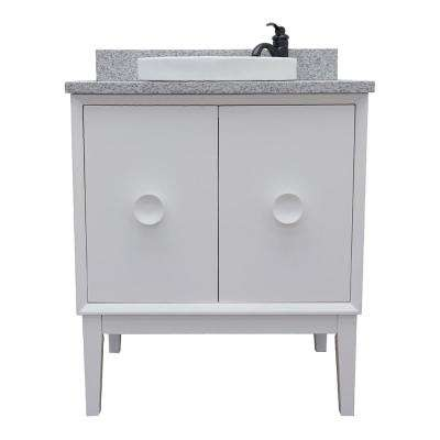 Stora 31 in. W x 22 in. D Bath Vanity in White with Granite Vanity Top in Gray with White Round Basin