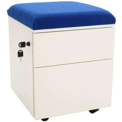 2-Drawer Wheeled White Storage Cabinet with Blue Cushion