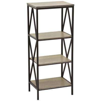 39 in. Brown Metal Wood Storage Shelves