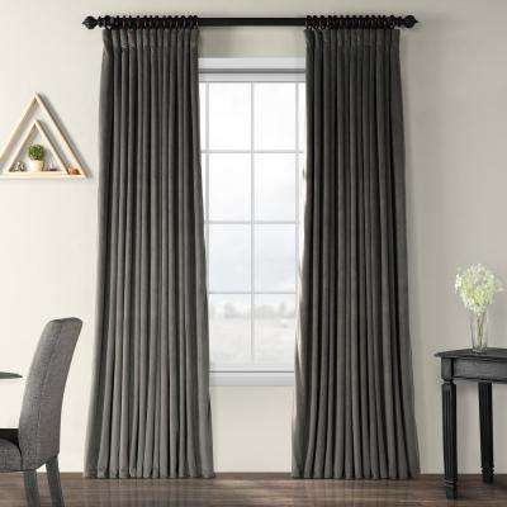 Blackout Signature Gunmetal Grey Doublewide Blackout Velvet Curtain - 100 in. W x 108 in. L (1 Panel)