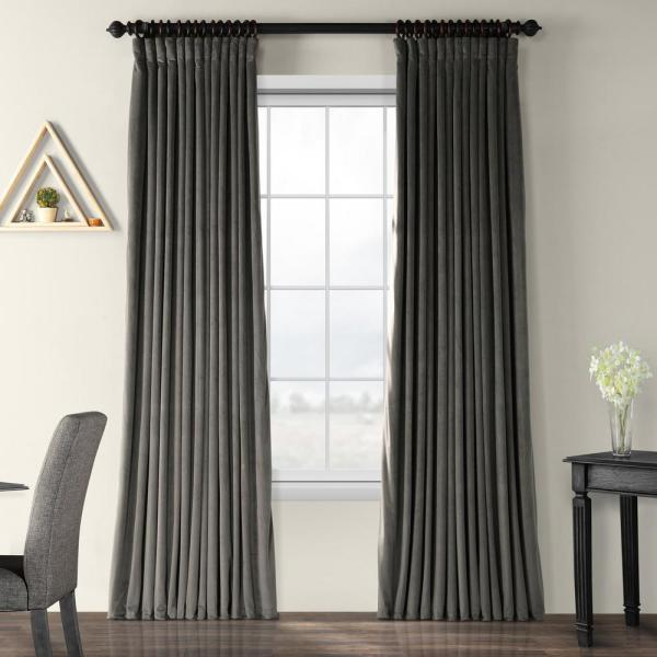 Blackout Signature Gunmetal Grey Doublewide Blackout Velvet Curtain - 100 in. W x 120 in. L (1 Panel)
